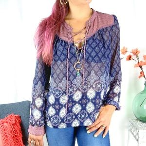 Lace Up Sheer Printed Blouse